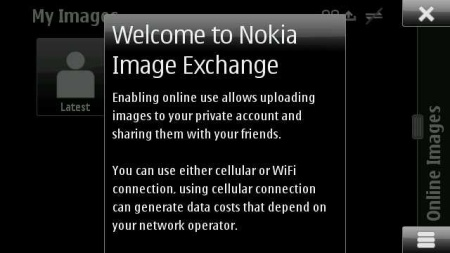 Nokia Image Exchange - welcome screen