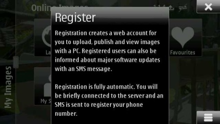 Nokia Image Exchange - registrazione