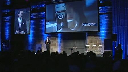 Un momento della conferenza stampa Nokia al GSMA Mobile World Congress 2009: sullo Niklas Savander
