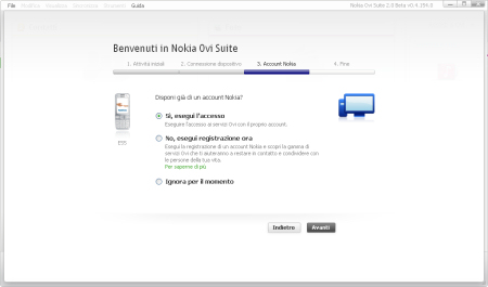 Nokia Ovi Suite 2.0 beta - account Nokia