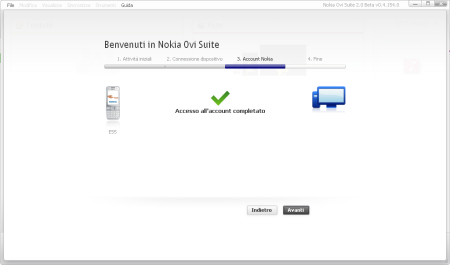 Nokia Ovi Suite 2.0 beta - accesso all'account completato