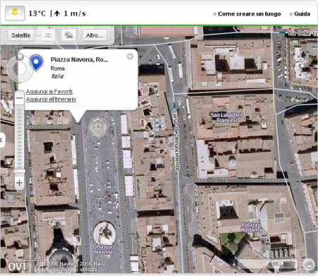 Piazza Navona sulle mappe di Ovi