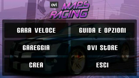Ovi Maps Racing - menu